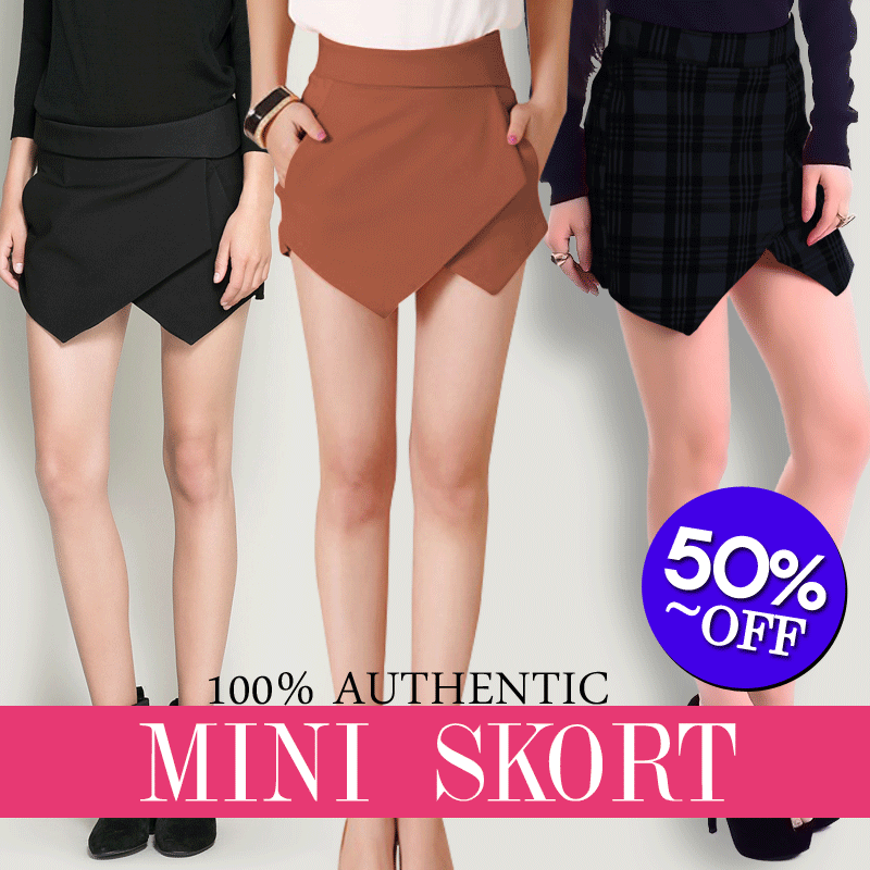 [NEW COLOR]TREND FASHION MINI SKORT Black/Brown/Tartan Motif/FREE SHIPPING/Lowest Price/Good Quality