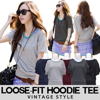 [Ramadhan SALE] KOREAN STYLE ★ LOOSE-FIT Vintage Hoodie TEE / Open Shoulder Tee / Celebrity Style / High quality / Spandex / Ready Stock