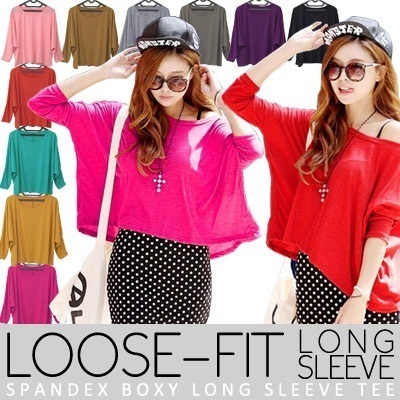 KOREAN STYLE ★ LOOSE-FIT Long Sleeve BOXY Tee / Office Look / Long Sleeve / Spandex