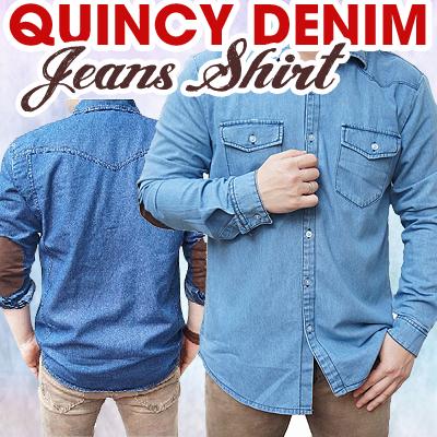 Quincy Kemeja Denim Pria / Denim Jeans Shirt with Elbow Patch