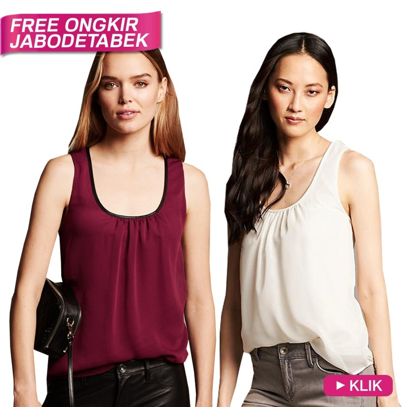 [Buy1Get1]Branded Sheer Overlay Tank_3 Colors_Good Quality_100% Authentic / Baju Wanita / Tanktop / Blouse