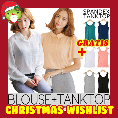 [Gratis Spandex Tanktop!!] Crazy! SALE! ★ OFFICE CHIFFON Blouse + SPANDEX Tanktop / Design by Korea / Made in China / Premium Chiffon Material