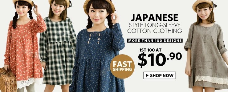 High Quality Japanese Style Long-Sleeve Cotton tops irregular sweep one-piece dress