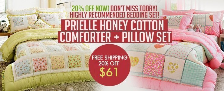 [Prielle] Honey Cotton Comforter + Pillow Set