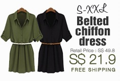 [She is J]S-XXL Belted chiffon dress
