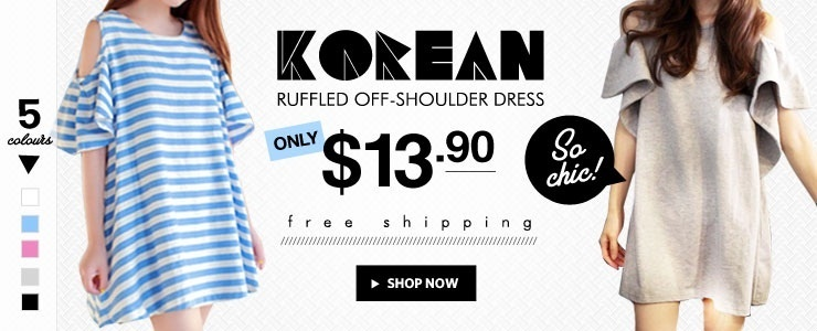 Korean Ruffled Off-Shoulder Dress. 5 Colors. Free Ship!