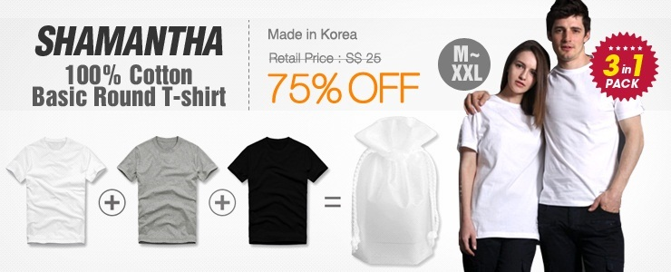 [Shamantha] basic T-shirt 3in 1 Pack. Made in Korea