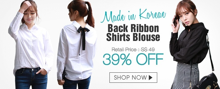 [Made in Korean] Back Ribbon Shirts Blouse