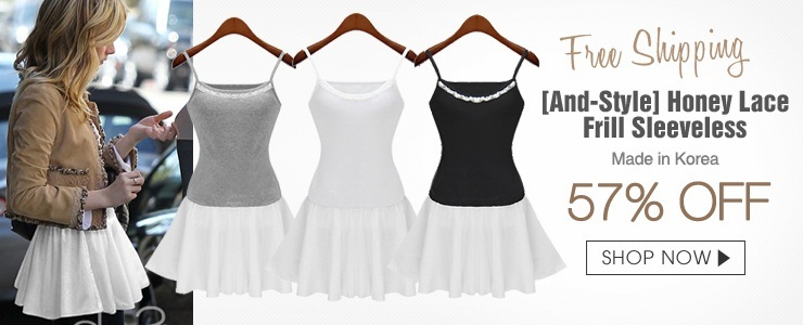 [And-Style] Honey Lace Frill Sleeveless