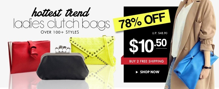 HOTTEST TREND! Ladies Clutch Bags @ Buy 2 Free Shipping!