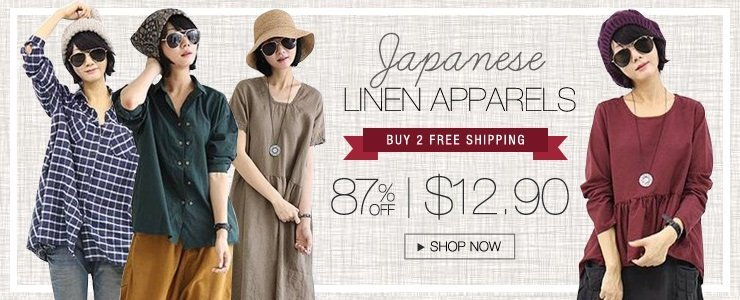Japanese Linen Apparel! Buy 2 Free Shipping!
