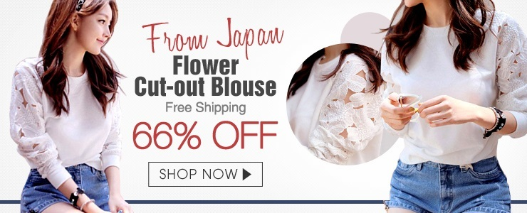 [From Japan]Flower cut-out blouse