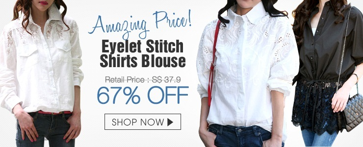 Eyelet Stitch Shirts Blouse