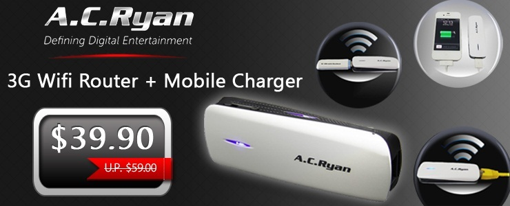 A.C ryan 1800mAh Mobile Charger with 3G WiFi Router