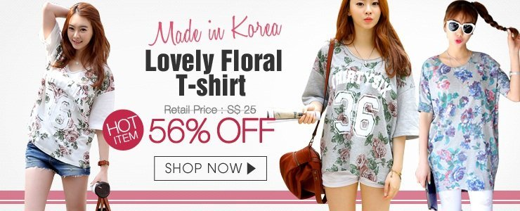 Made in Korea Lovely Floral Tshirts