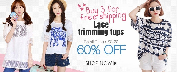 [Buy 3 for free shipping] Lace trimming tops
