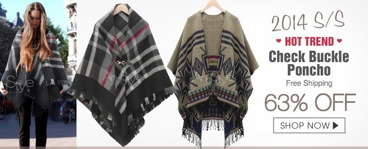 2014 S/S Newest  Check Buckle Poncho