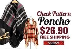 Check Pattern Poncho $26.90 Free shipping! Get $1 Shop Coupon!