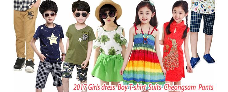 2017 Girls dress  Boy T-shirt  Suits  Cheongsam  Pants