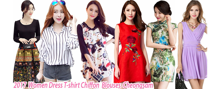 2017  Women Dress T-shirt Chiffon  Blouses  Cheongsam