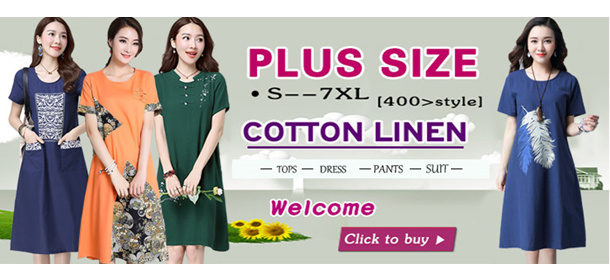 High Quality Japanese Linen Apparels Cotton Dress Japan Linen / Plus Size Dress