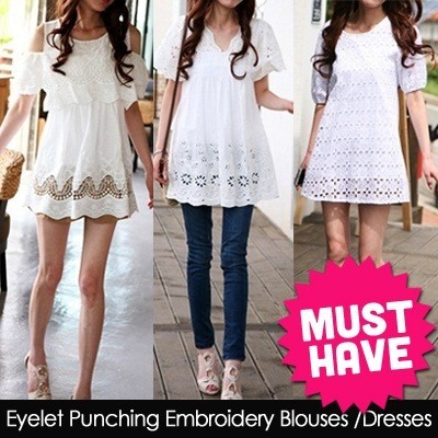 Womens trendy lovely white Blouse eyelet embroidery stitch blouse