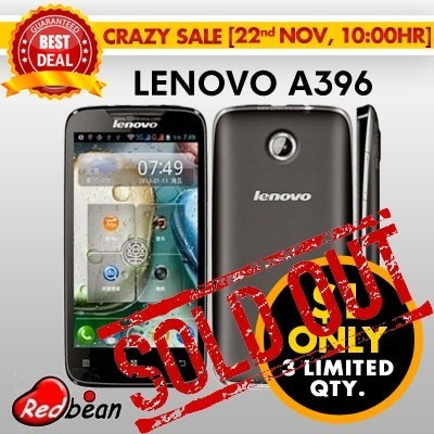 [LENOVO] A396 Quad Core 3G SmartPhone | 4.0 inch Capacitive Screen | Dual Camera | Dual SIM | 3G + WiFi | Smart Mobile Cell Phone Better than A269i | FREE Playstore Preload | Black and White