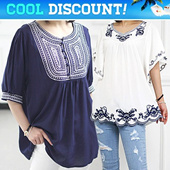 [Nemo]Embroidery Blouse / Made in Korea /Trendy Shirts / Tops / Summer Short Sleeve