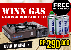 [CRAZY DEAL 1 DAY] Winn Gas Kompor Portable 1B + Butane 6pcs Rp.290.000!!