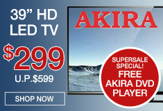 Akira TV at $299 with FREE DVD Player