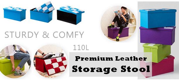 Premium Leather/Fabric Storage Stool