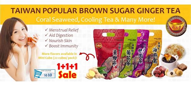 Taiwan Popular Brown Sugar Ginger Tea & Coral Seaweed