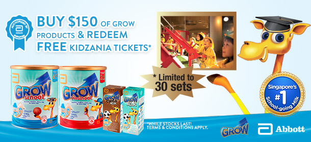 Kidzania ticket giveaway with $150 spent on Grow products