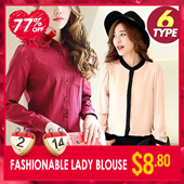 SWEET!CUTE!Korea Fashionable Lady Blouse/Long Sleeve Chiffon Shirt/Multiple Color/6 Types/Female【M18】