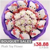 Special 50 Bouquet Sales - Valentine Day Flower Bouquet Plush Toy Flower Sending Loves and Hugs.... To let your loved ones know that she is very special to you ...valentine gift Hello Kitty