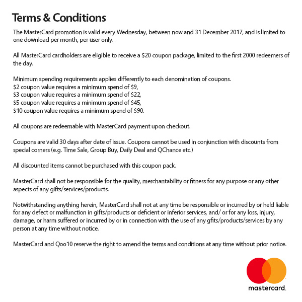 Terms and conditions for gift coupons