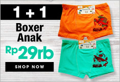 Buy 1 get 1 Free Boxer Anak 100% Cotton Hanya Rp.29.000 ! Only at Qoo10!