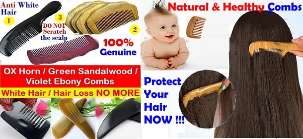 100% Natural / Genuine / Healthy COMBS - Anti WHITE Hair / Hair LOSS