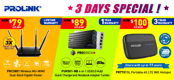 3 Days Special! PROLiNK 3 Days Special Only!
